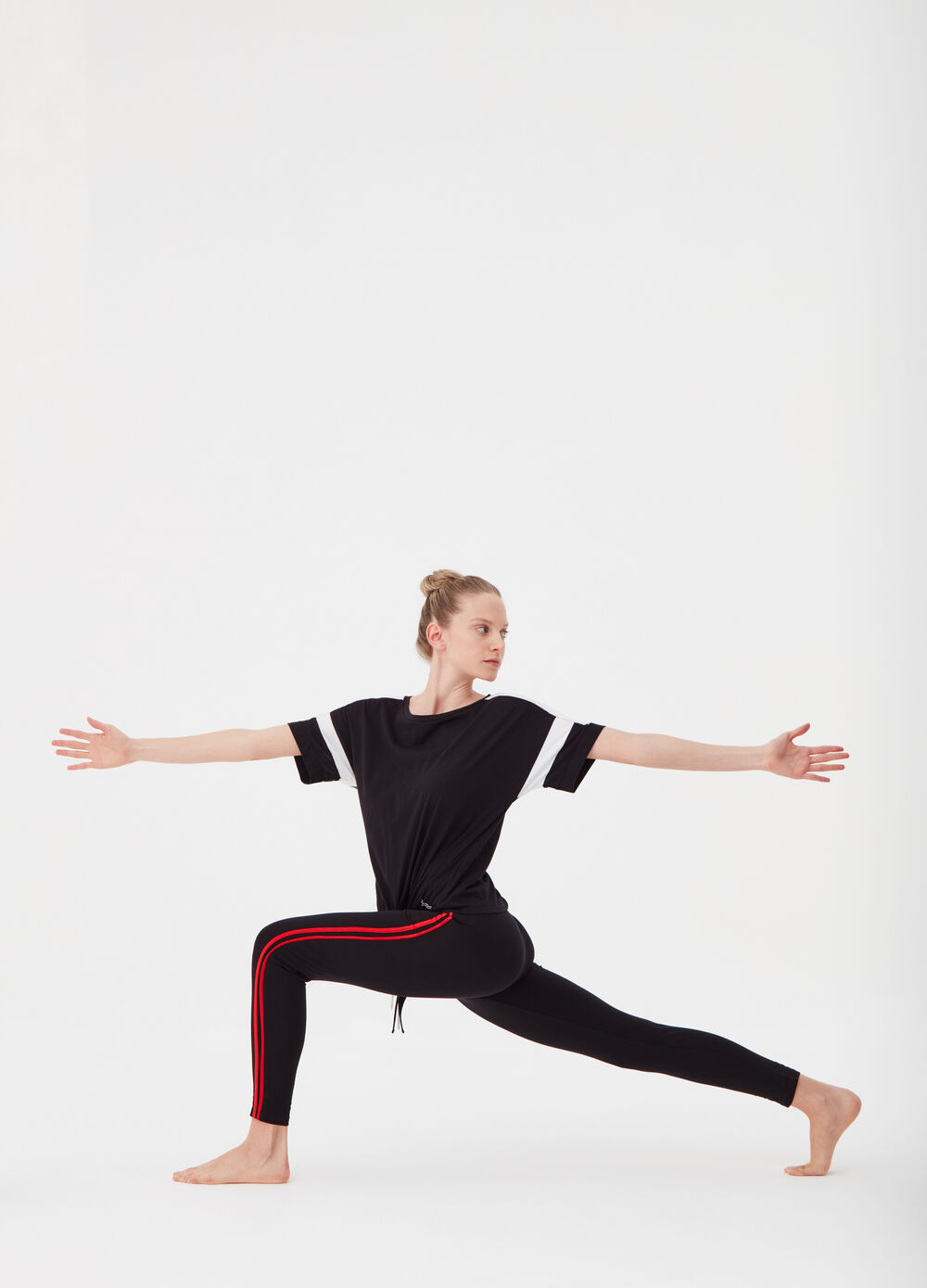 Leggings with drawstring and striped insert