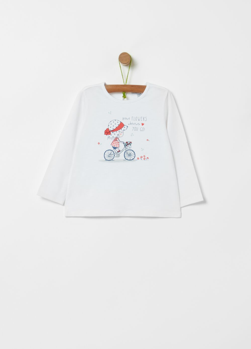 Stretch organic cotton T-shirt with print