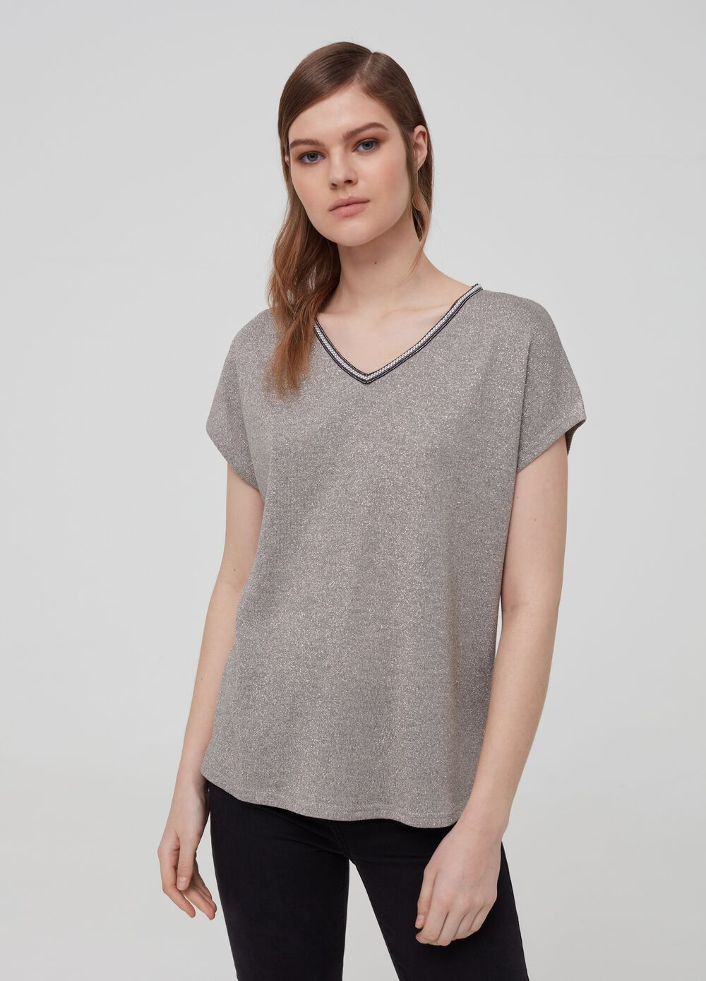 V-neck T-shirt with lurex