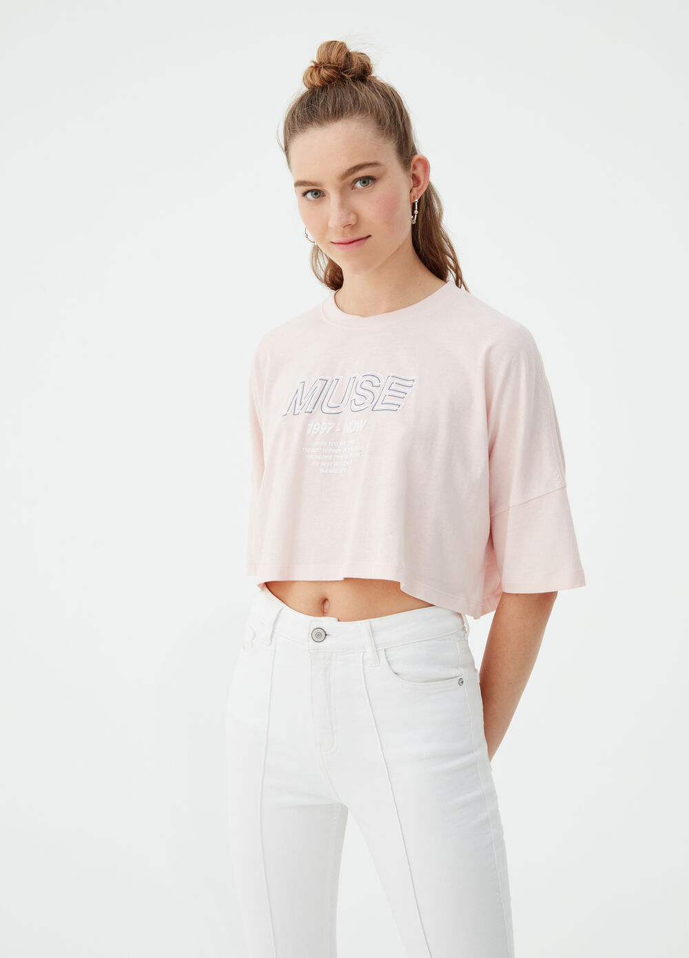 BCI cotton crop T-shirt with lettering print