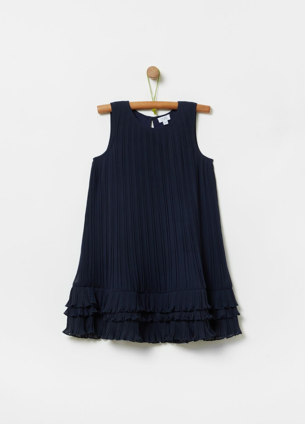 Solid colour pleated dress