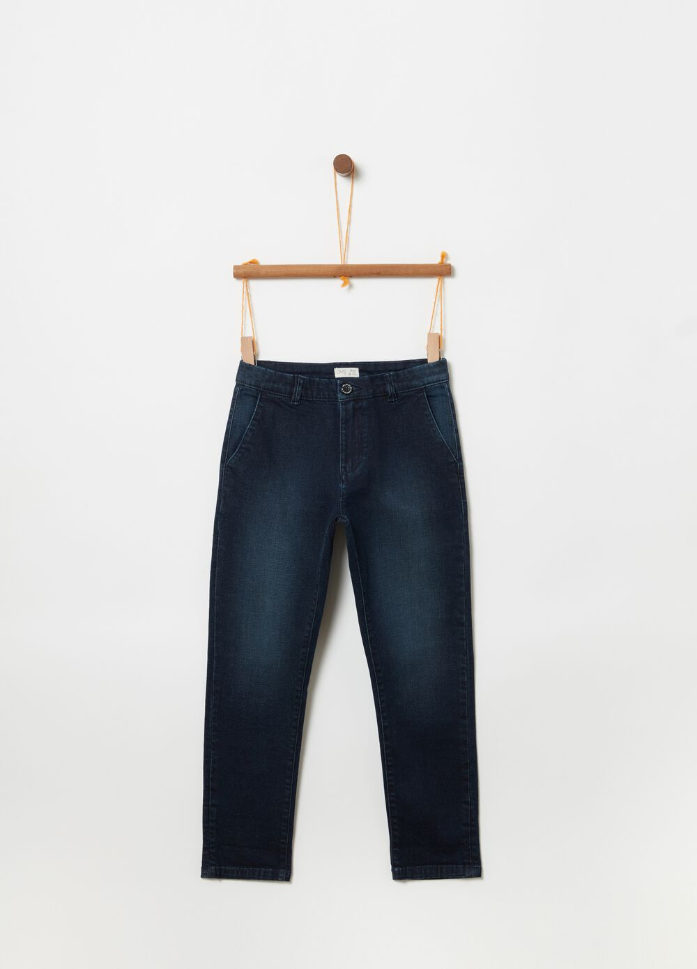 Slim-fit faded denim chinos