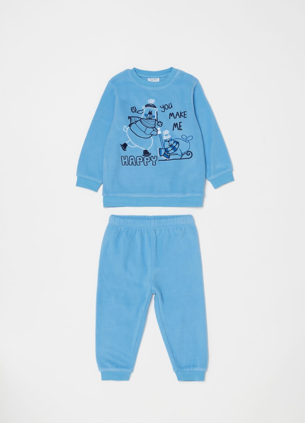 Long chenille-effect pyjamas with embroidery