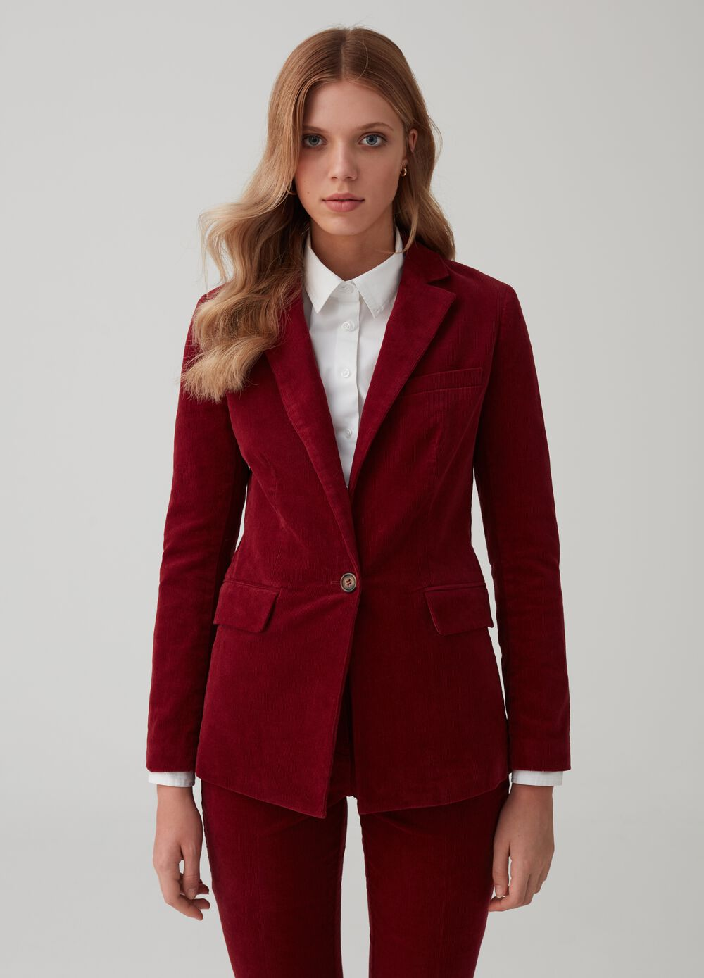 Velvet single-breasted blazer with pockets