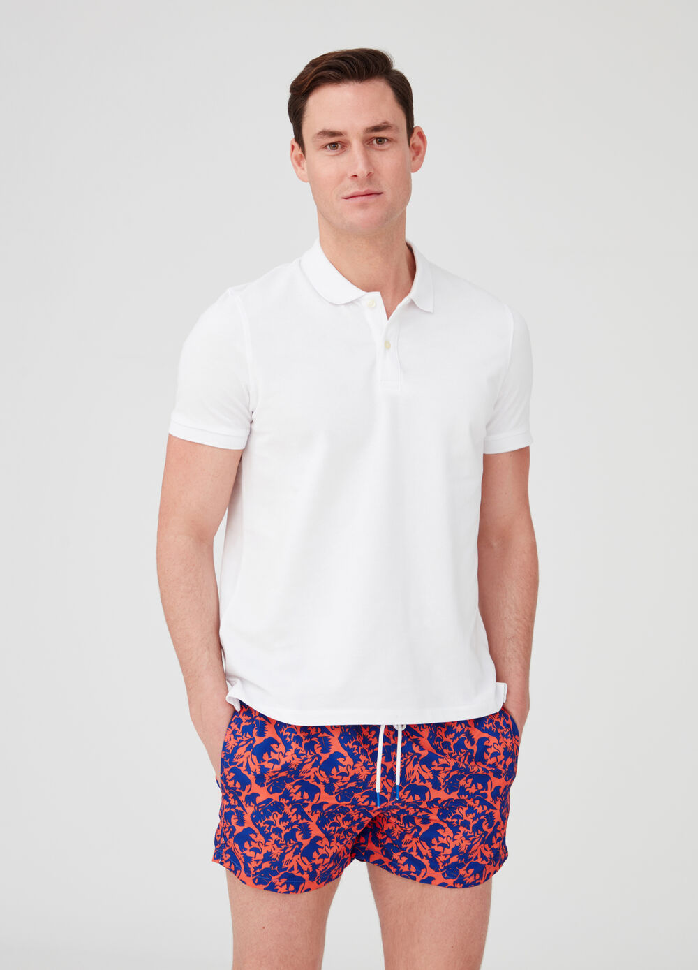 Beach shorts with drawstring and elephant pattern