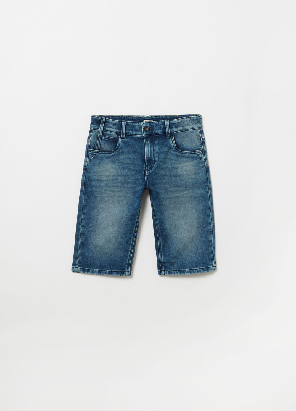 Washed denim Bermuda shorts with five pockets