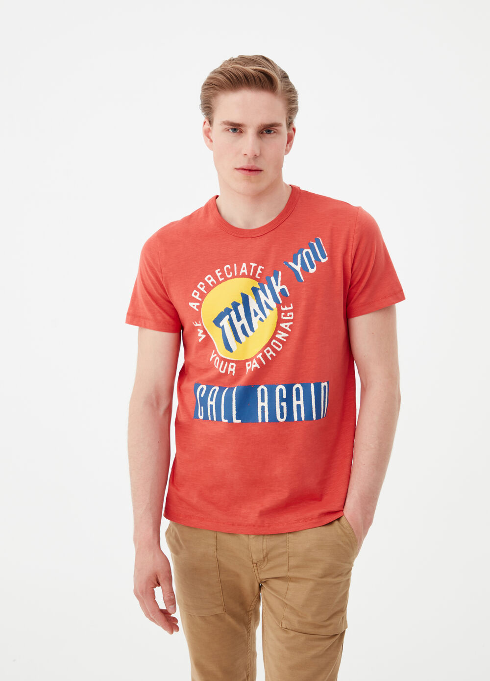 Crew neck T-shirt with ribbing and print