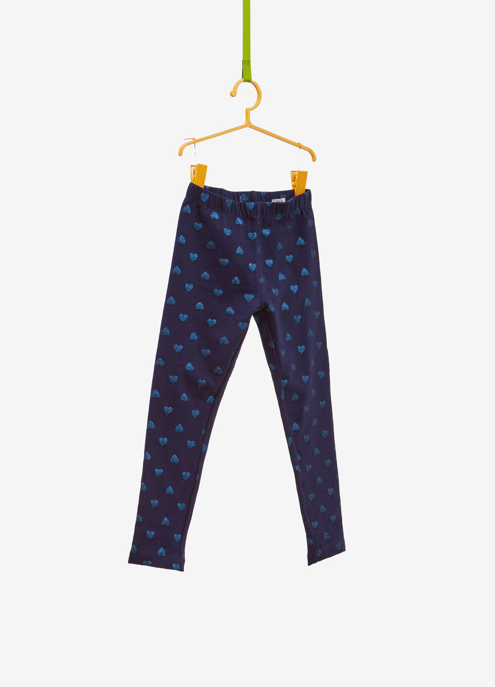 Stretch cotton leggings with glitter hearts
