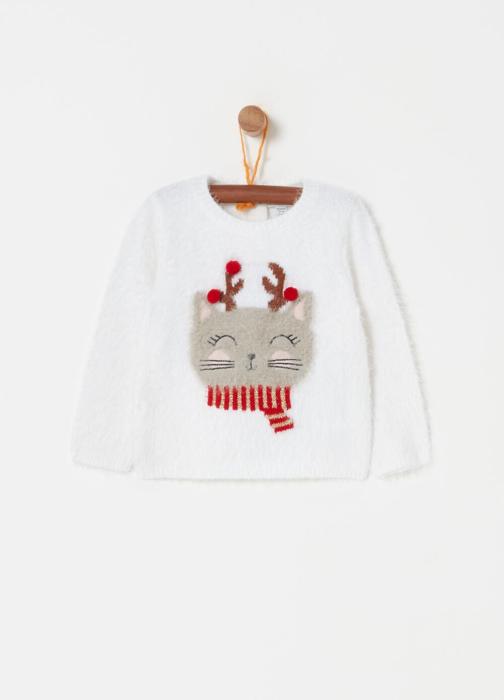 Knitted pullover with Christmas kitten print