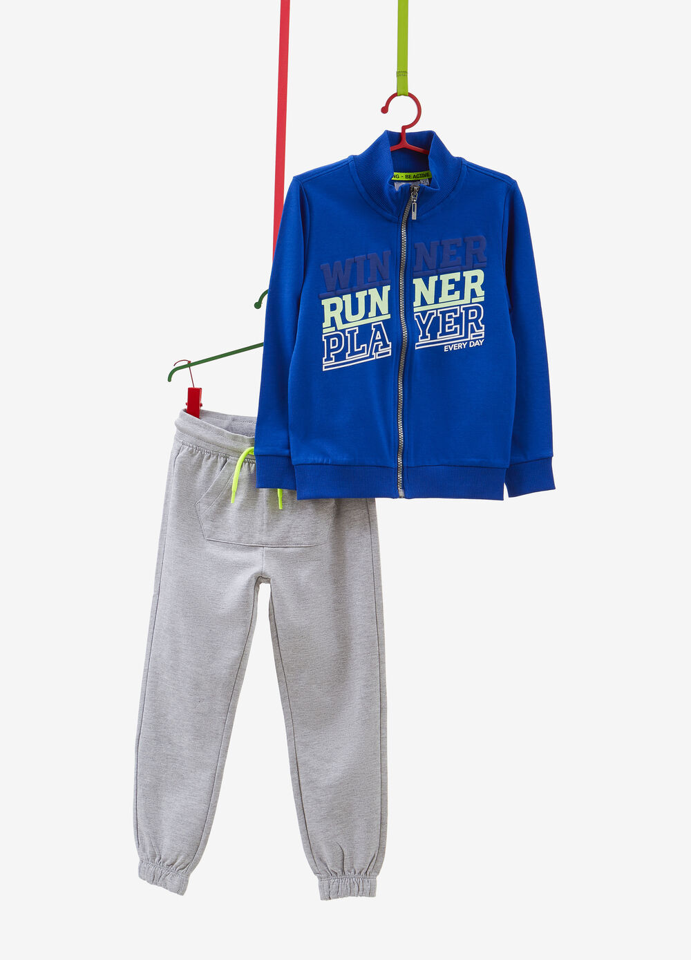 100% cotton tracksuit with sweatshirt and trousers