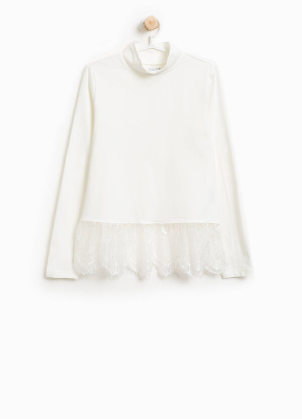 Stretch cotton turtleneck jumper with lace | OVS