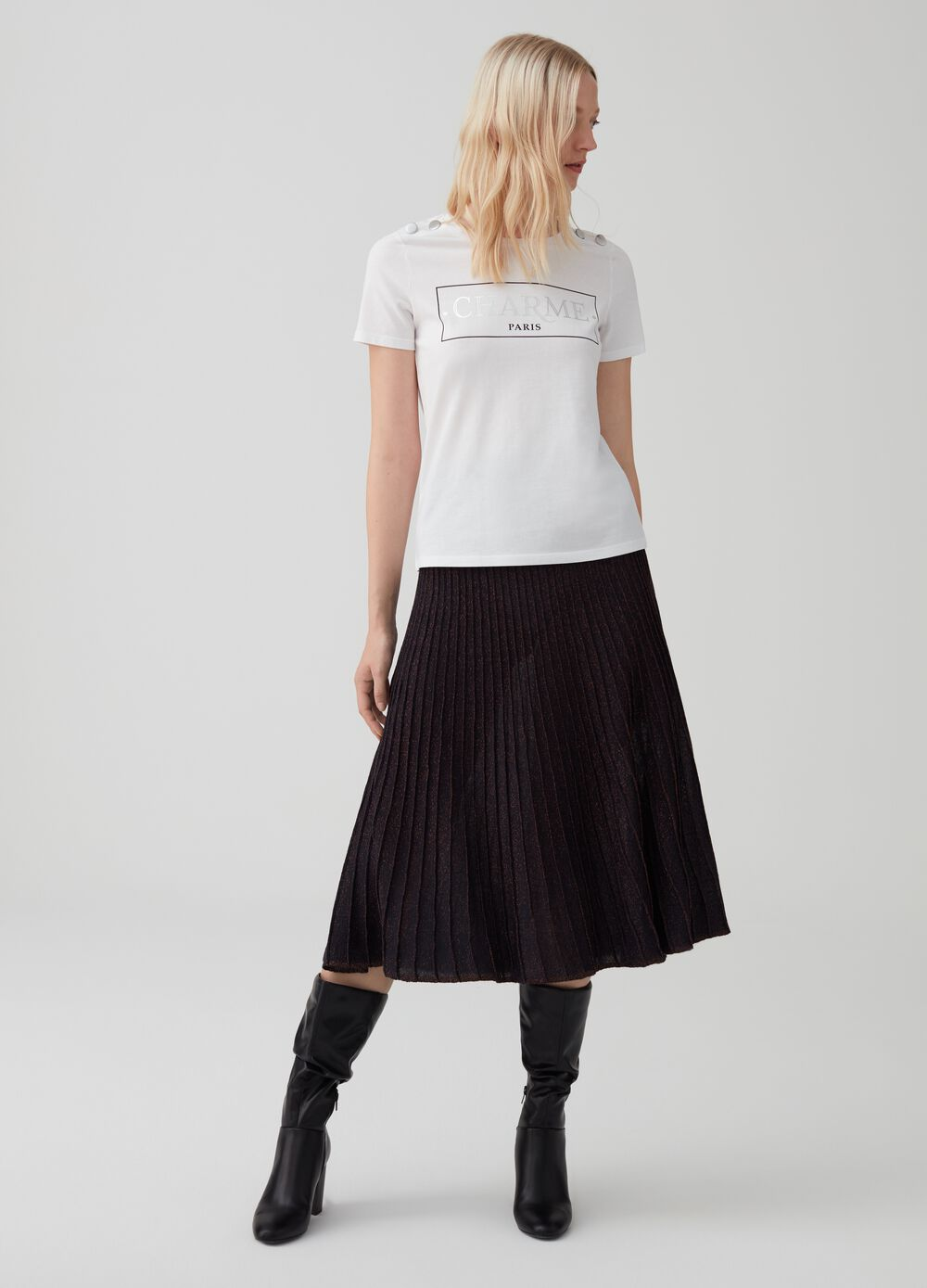 Pleated skirt with lurex