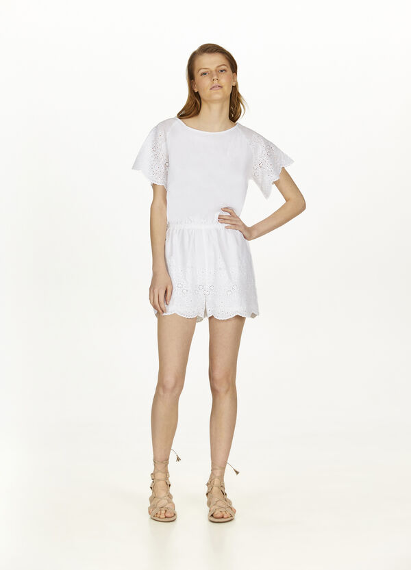 100% cotton playsuit with lace