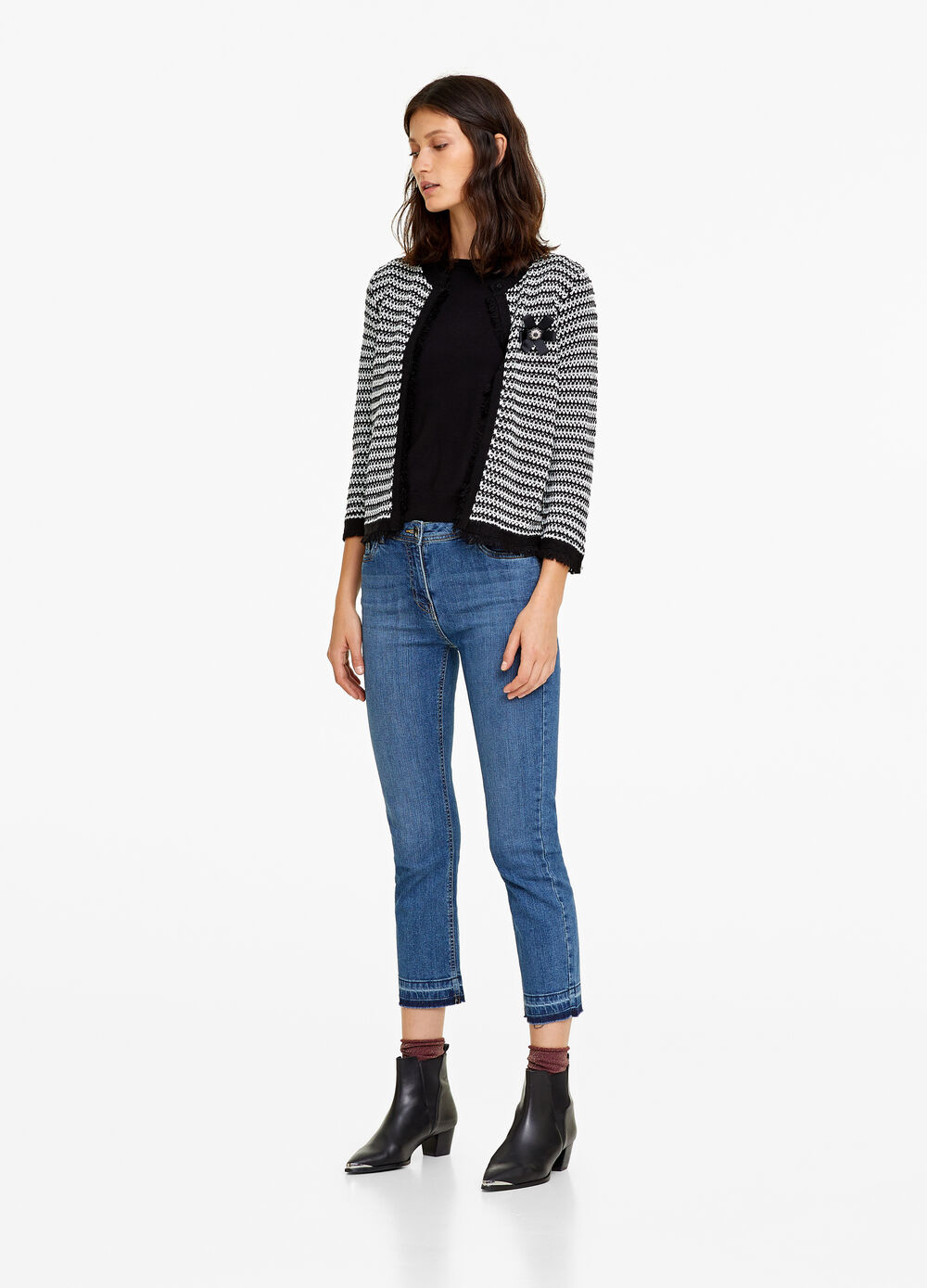 Striped knitted cardigan jacket