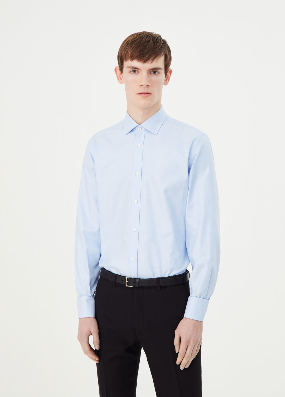 Charmeuse weave shirt with semi cut-away collar