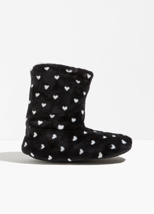 Ankle boot slippers with heart pattern | OVS