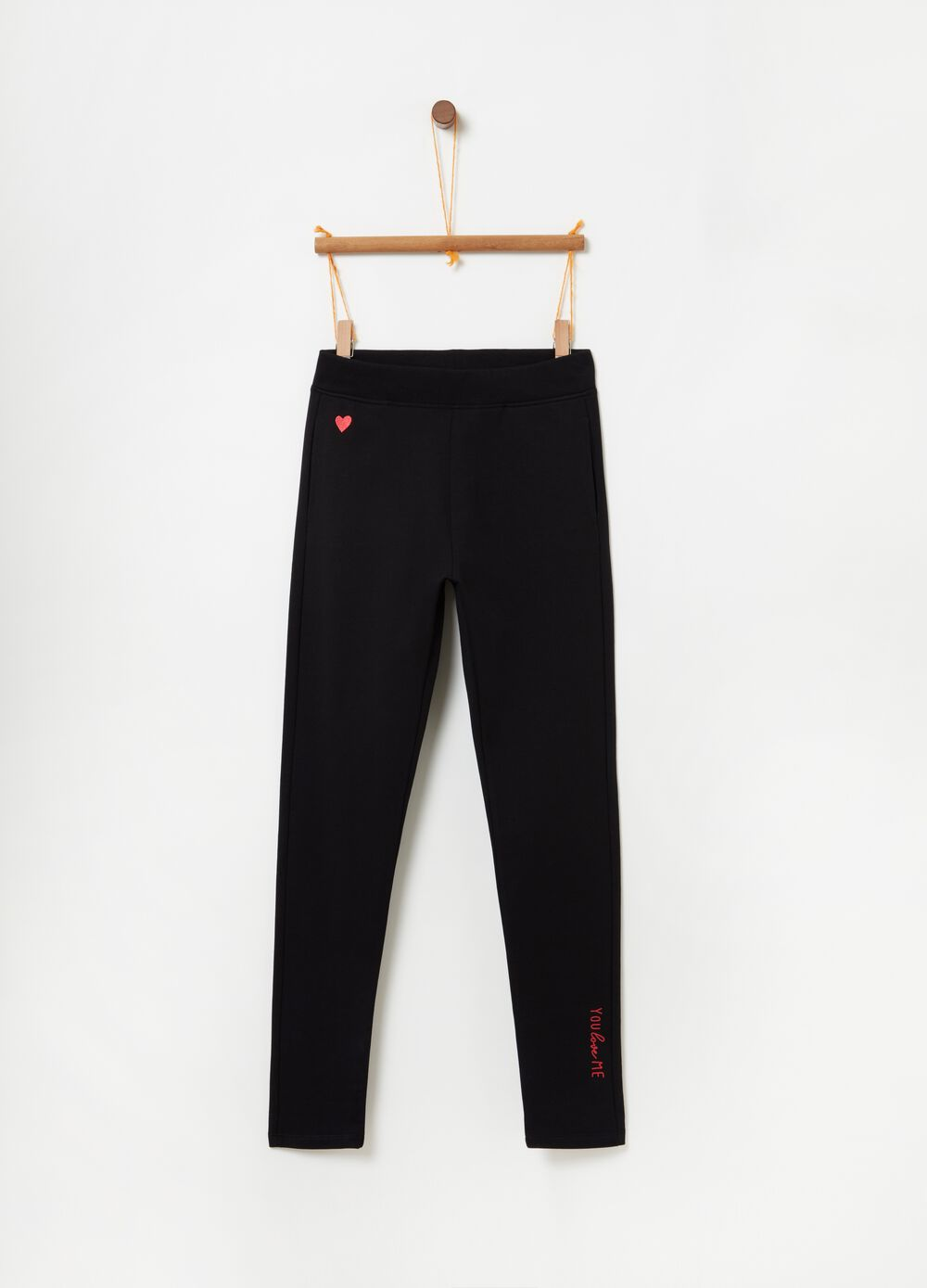 Stretch joggers with heart embroidery and print