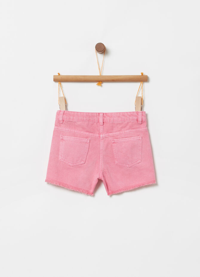 Denim shorts with lace