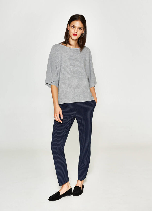 Wool and viscose crop pullover