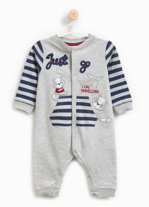 Sleepsuit in 100% cotton with stripes and patches