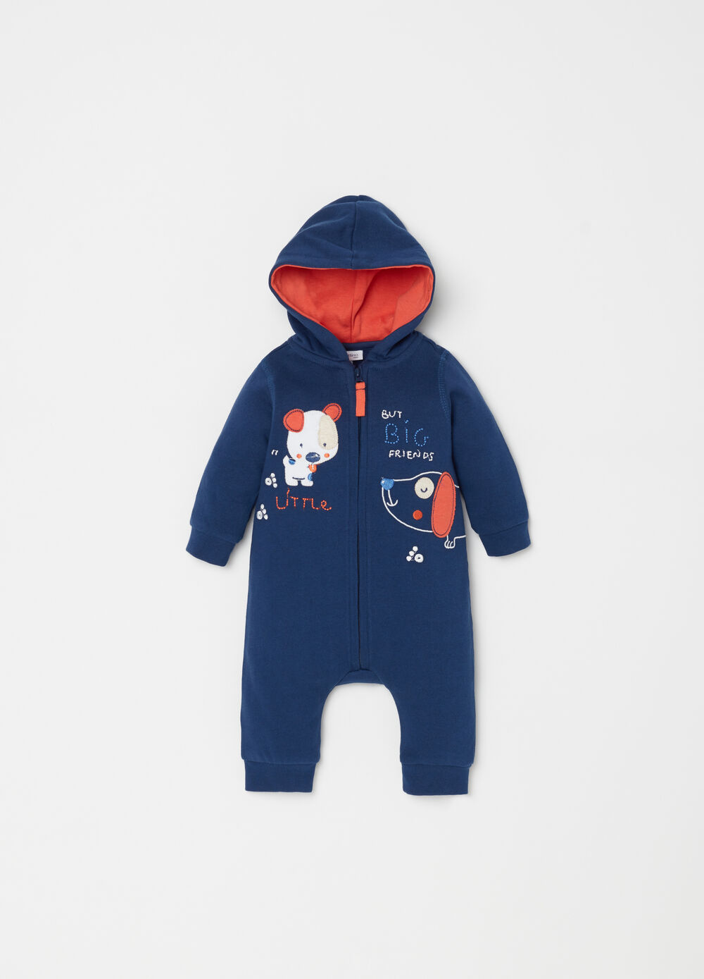 Organic cotton onesie with hood and patch