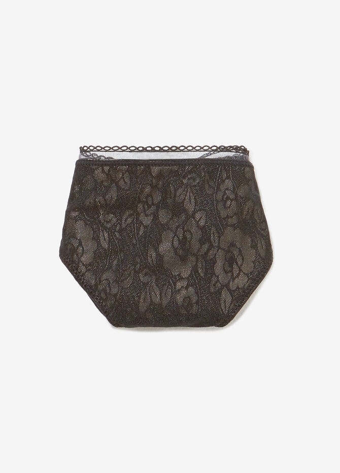Floral patterned stretch Brazilian-cut briefs with glitter
