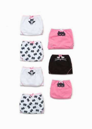 Seven-pack 100% cotton briefs with kittens