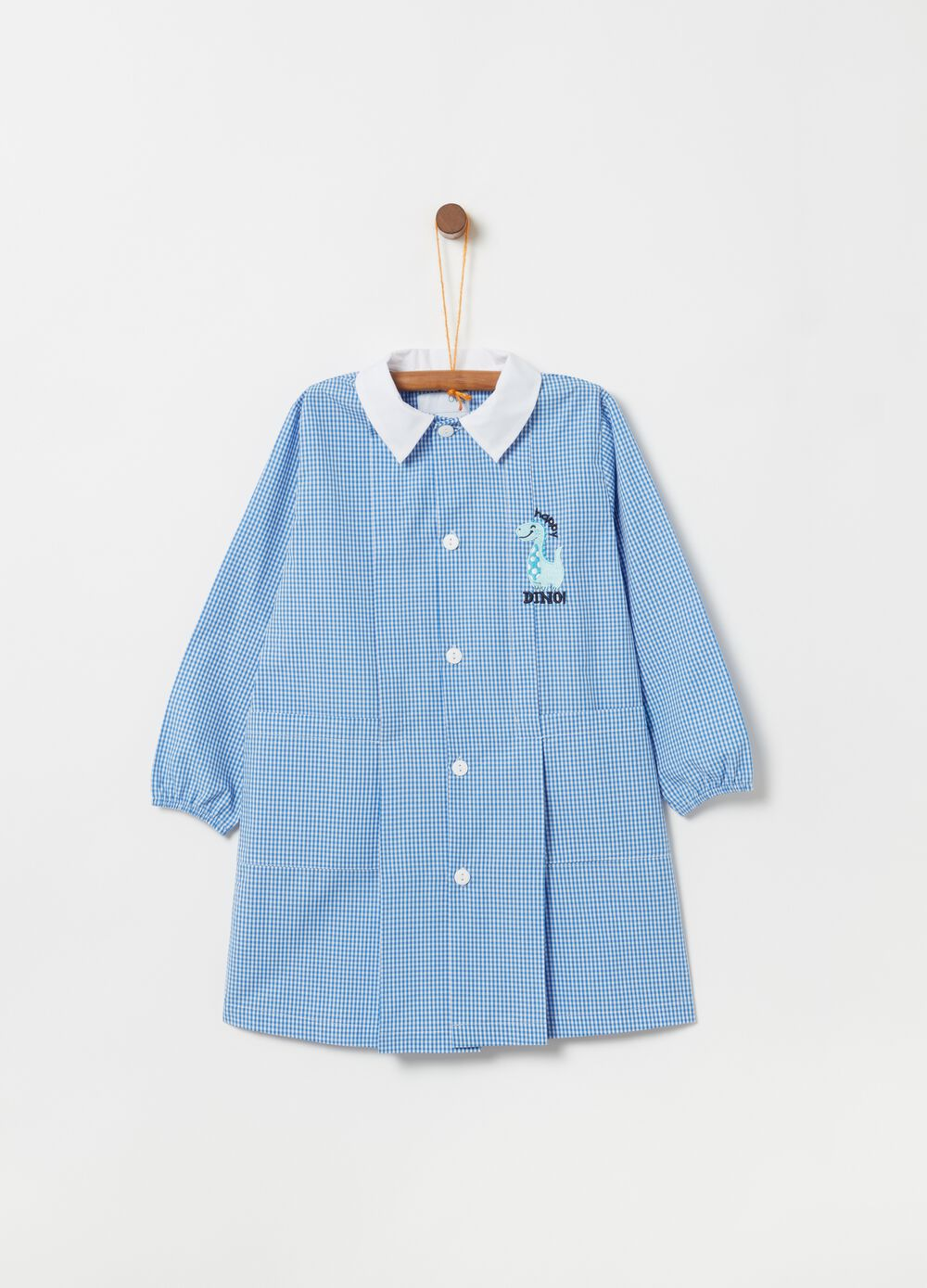 Patterned smock with embroidery and pockets