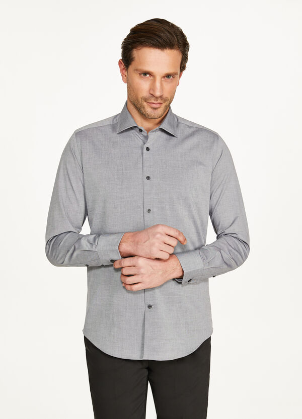 Slim-fit formal mélange shirt