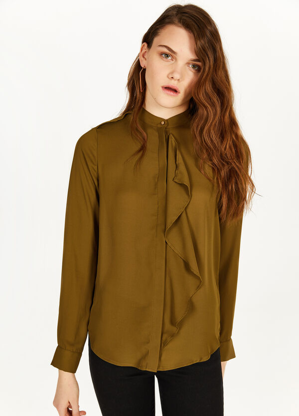 Shirt with Mandarin collar and flounce