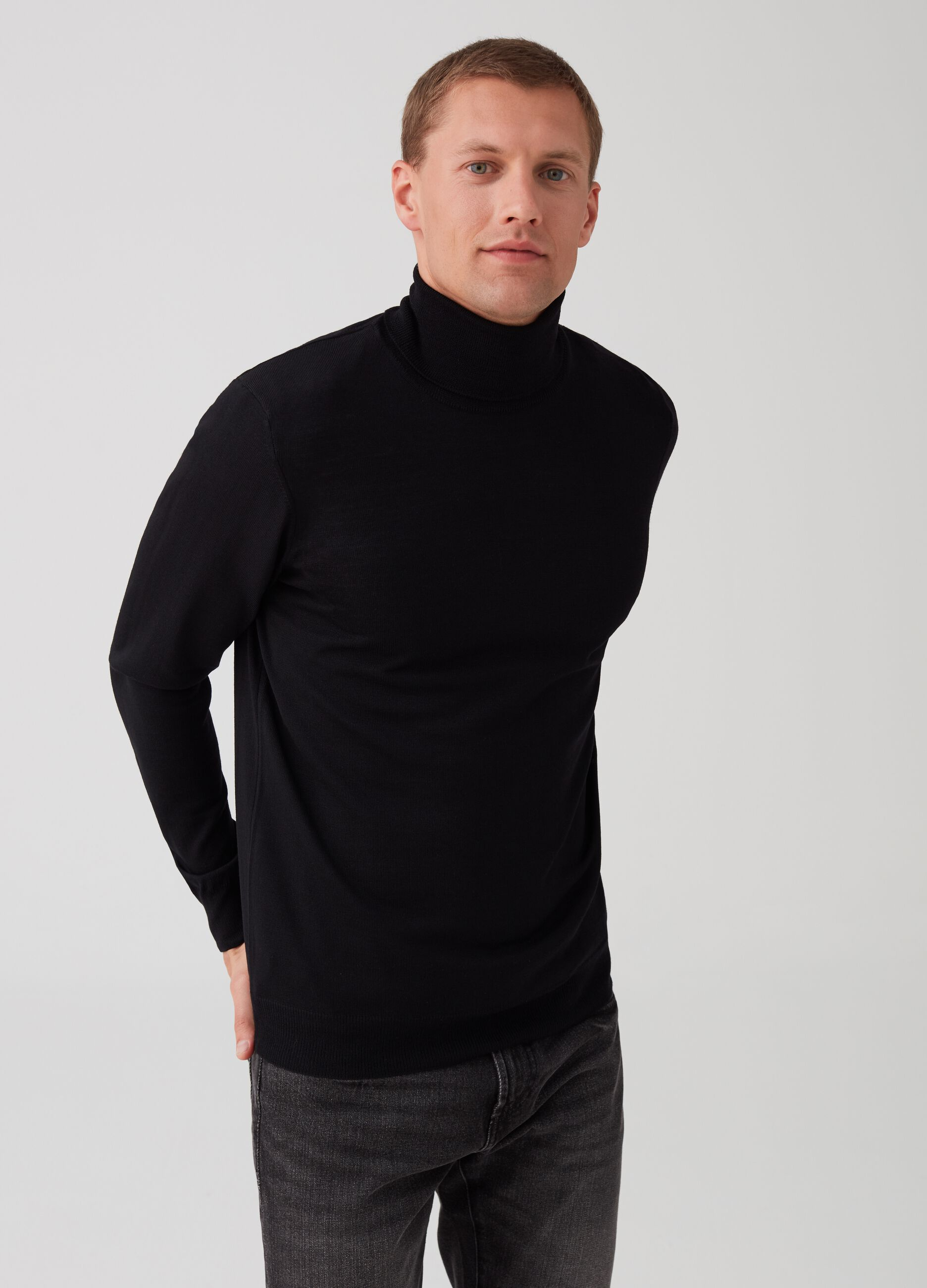 100% extrafine merino wool turtleneck jumper | OVS ES