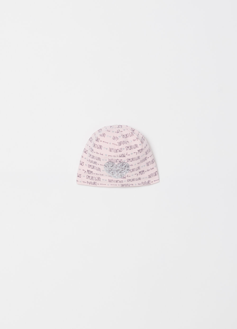 Cotton cap with heart-shaped diamantés and glitter