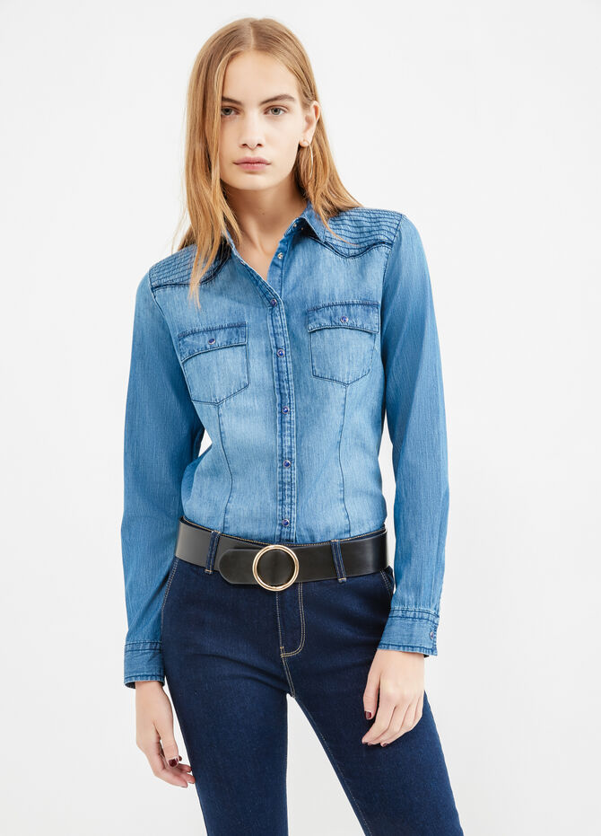 Denim shirt with double pocket