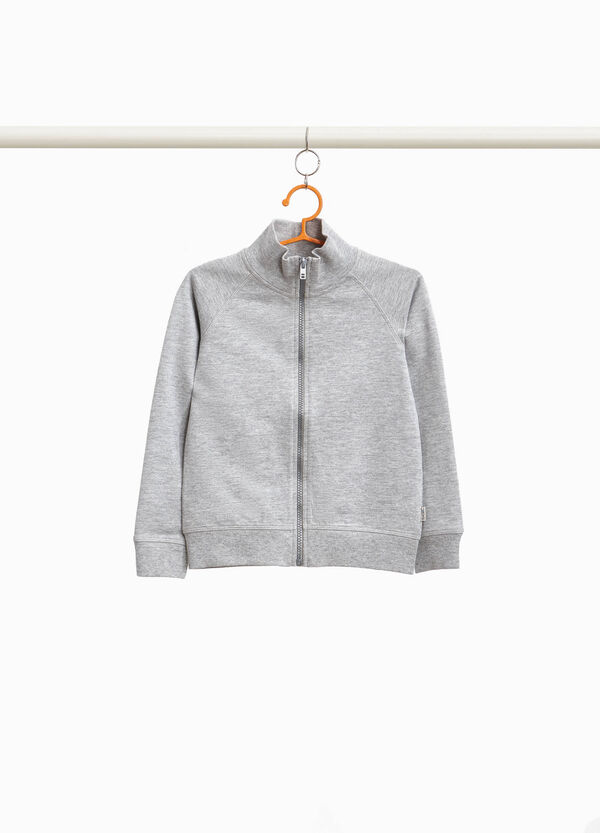 Cotton blend sweatshirt with high neck and zip