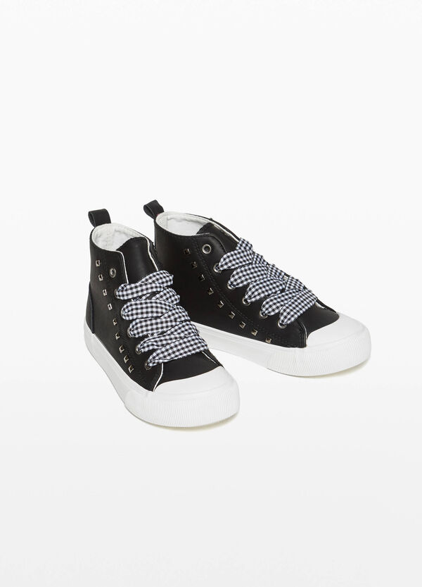 High-top sneakers with studs and check pattern