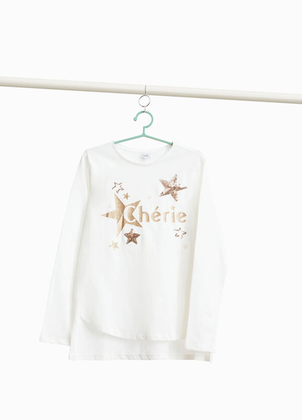 T-shirt with sequins and glitter print