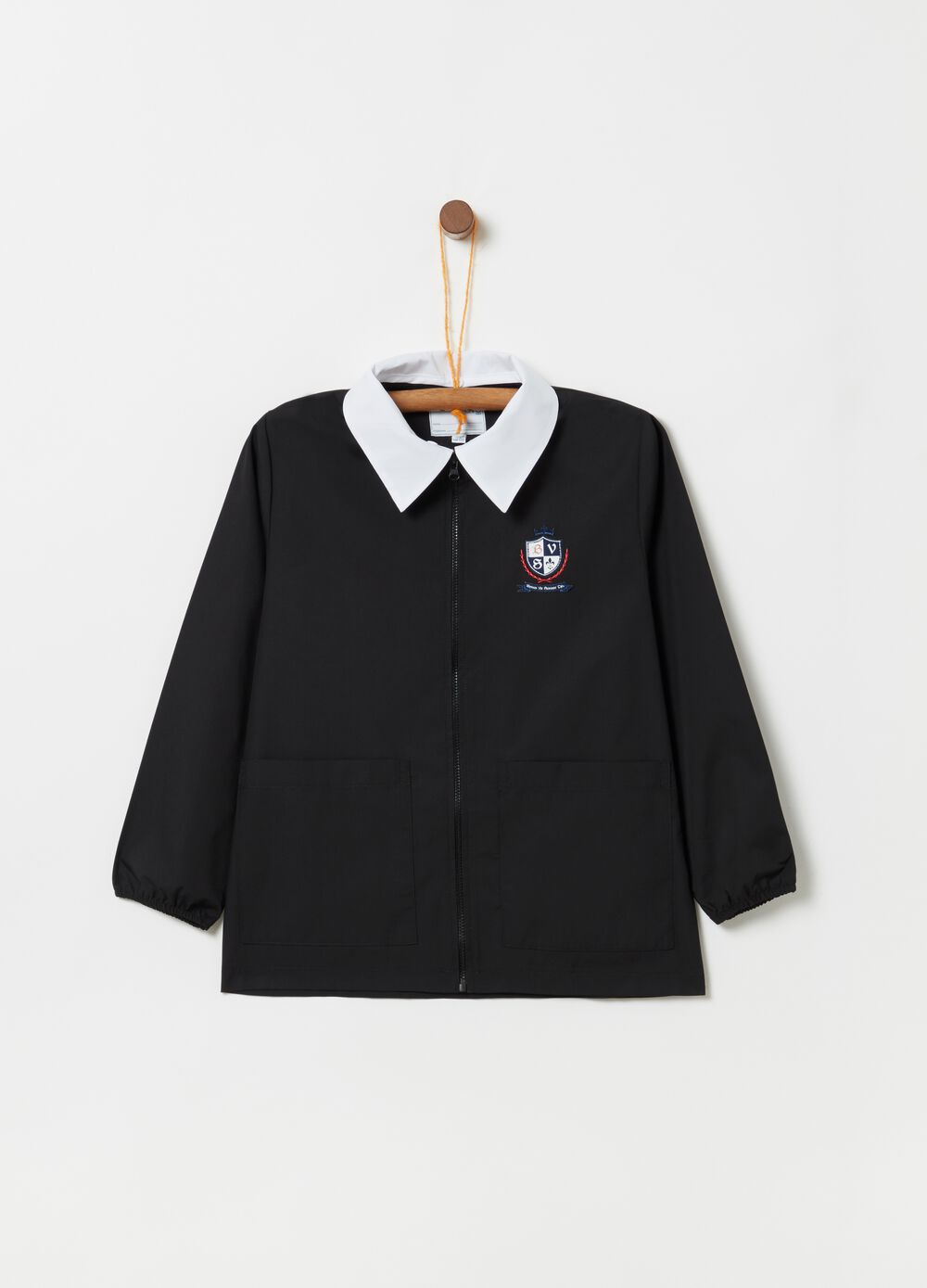School smock with zip and herald stem