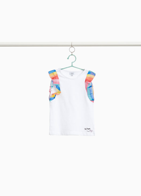 Stretch cotton top with flounce