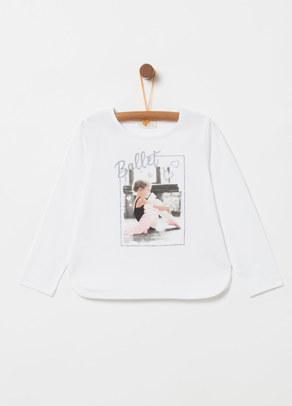Long-sleeved T-shirt with ballerina print