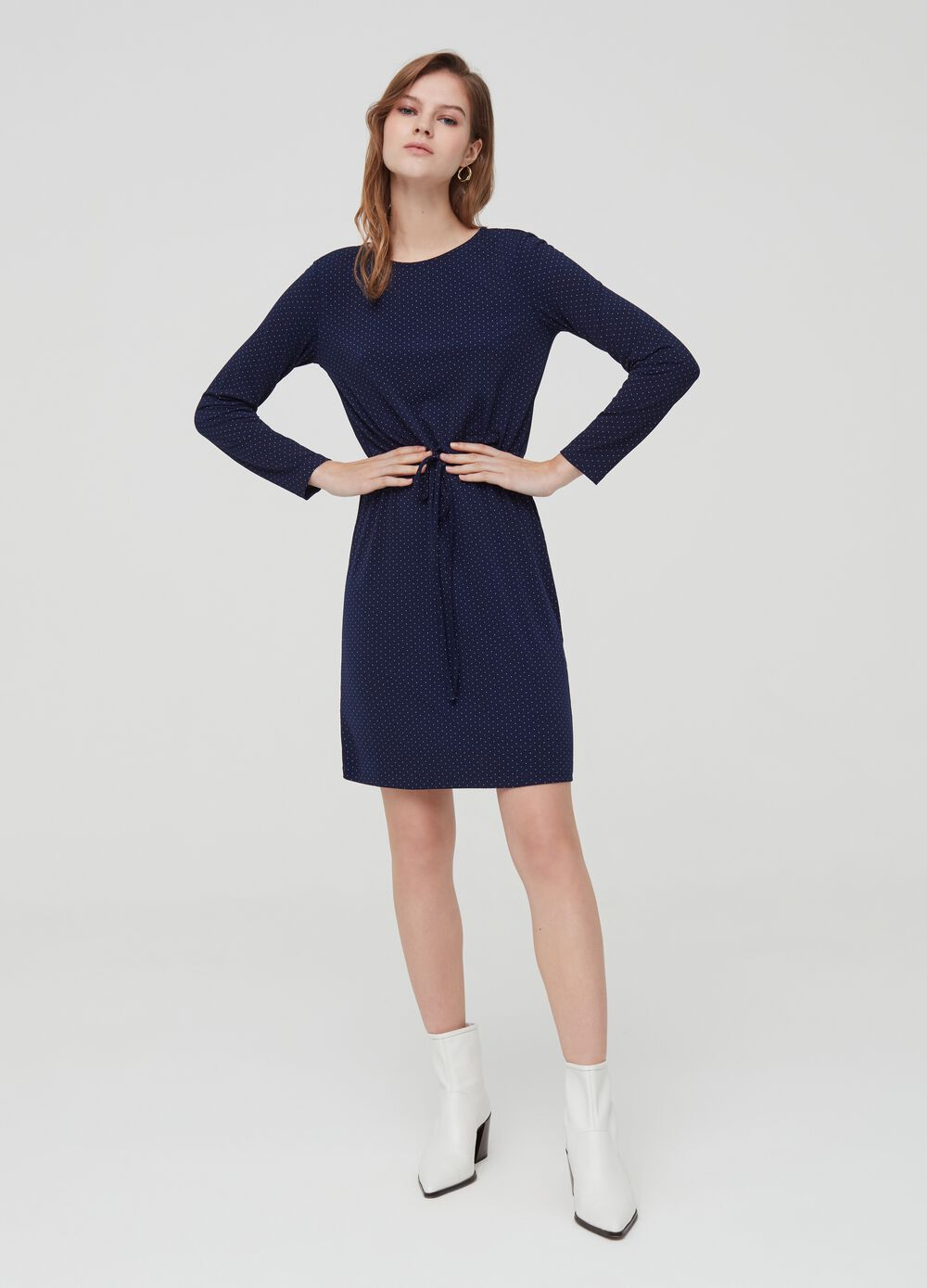 Long-sleeved dress with micro polka dots