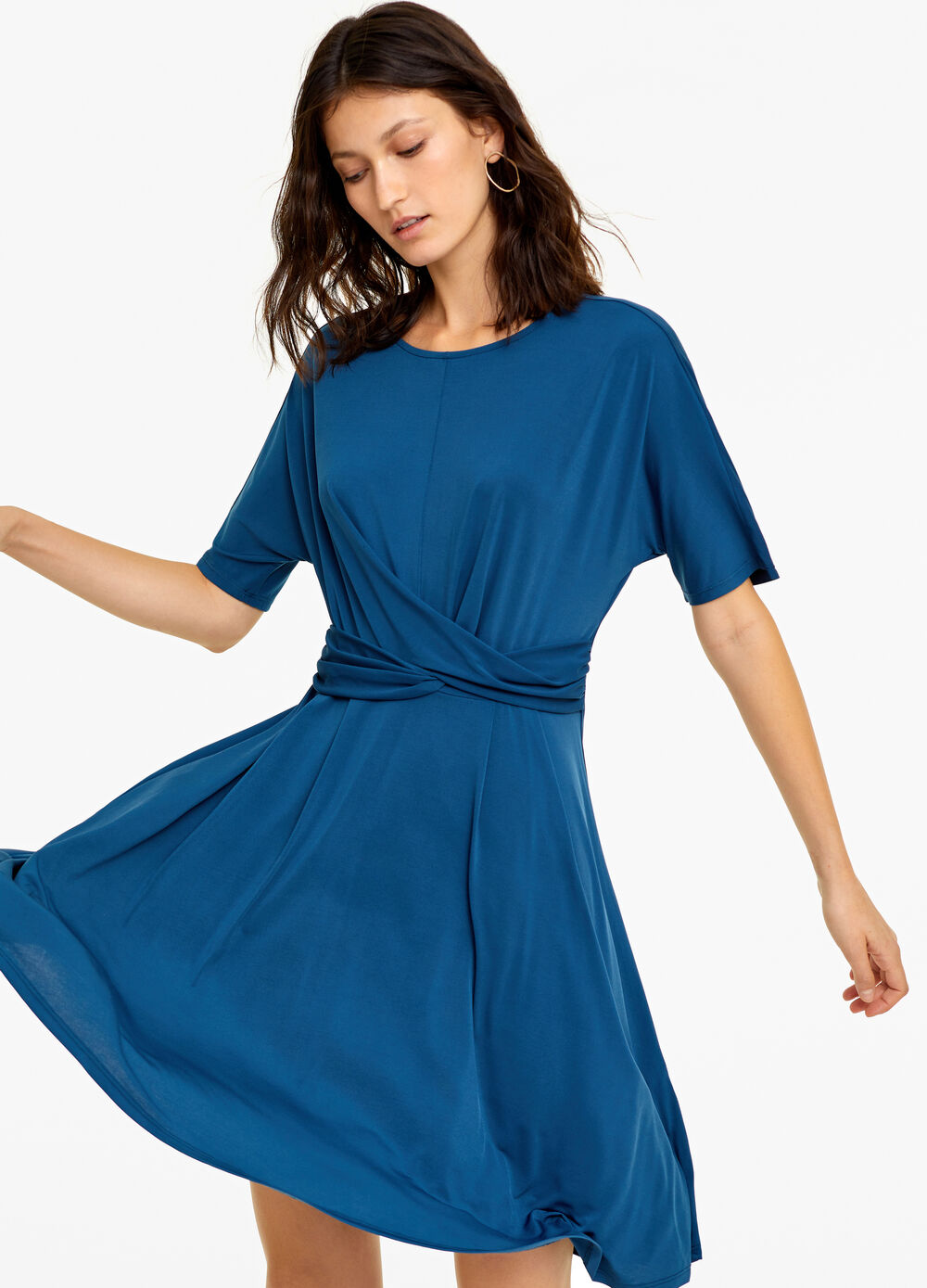 Stretch dress with crossover