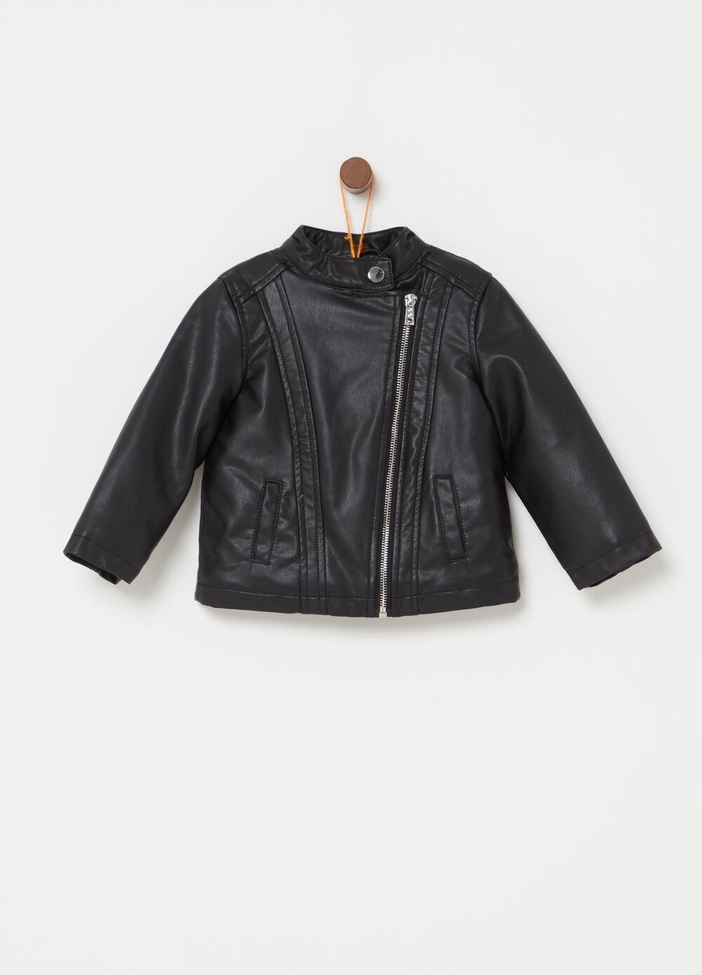 Solid colour leather-look jacket with zip