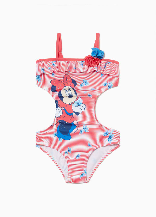 One-piece striped Minnie Mouse swimsuit with openings