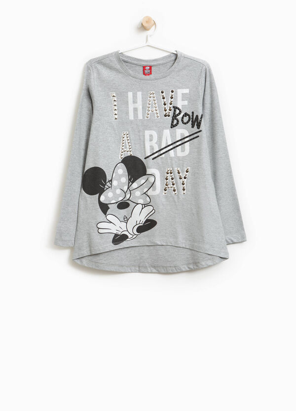 100% cotton T-shirt with Minnie Mouse and diamantés