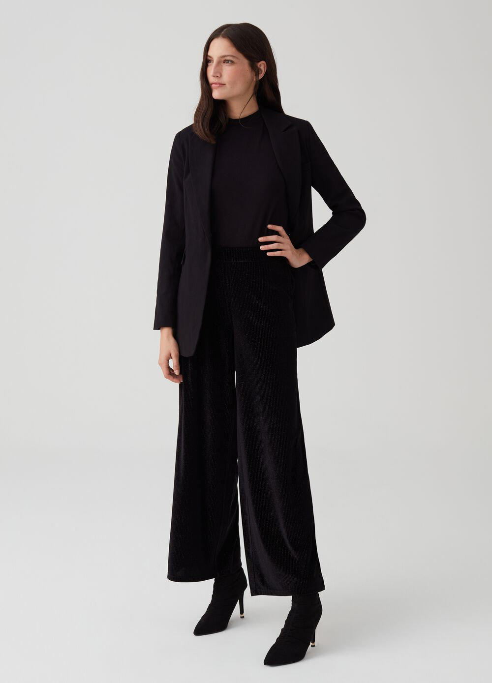 Stretch trousers with high waist and lurex