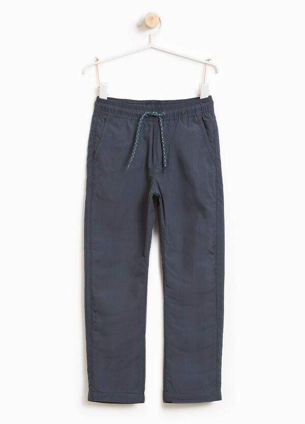 Solid colour trousers with drawstring