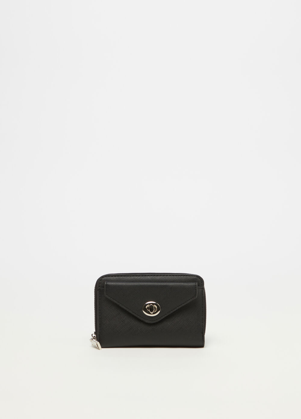 Saffiano purse with metal fastening