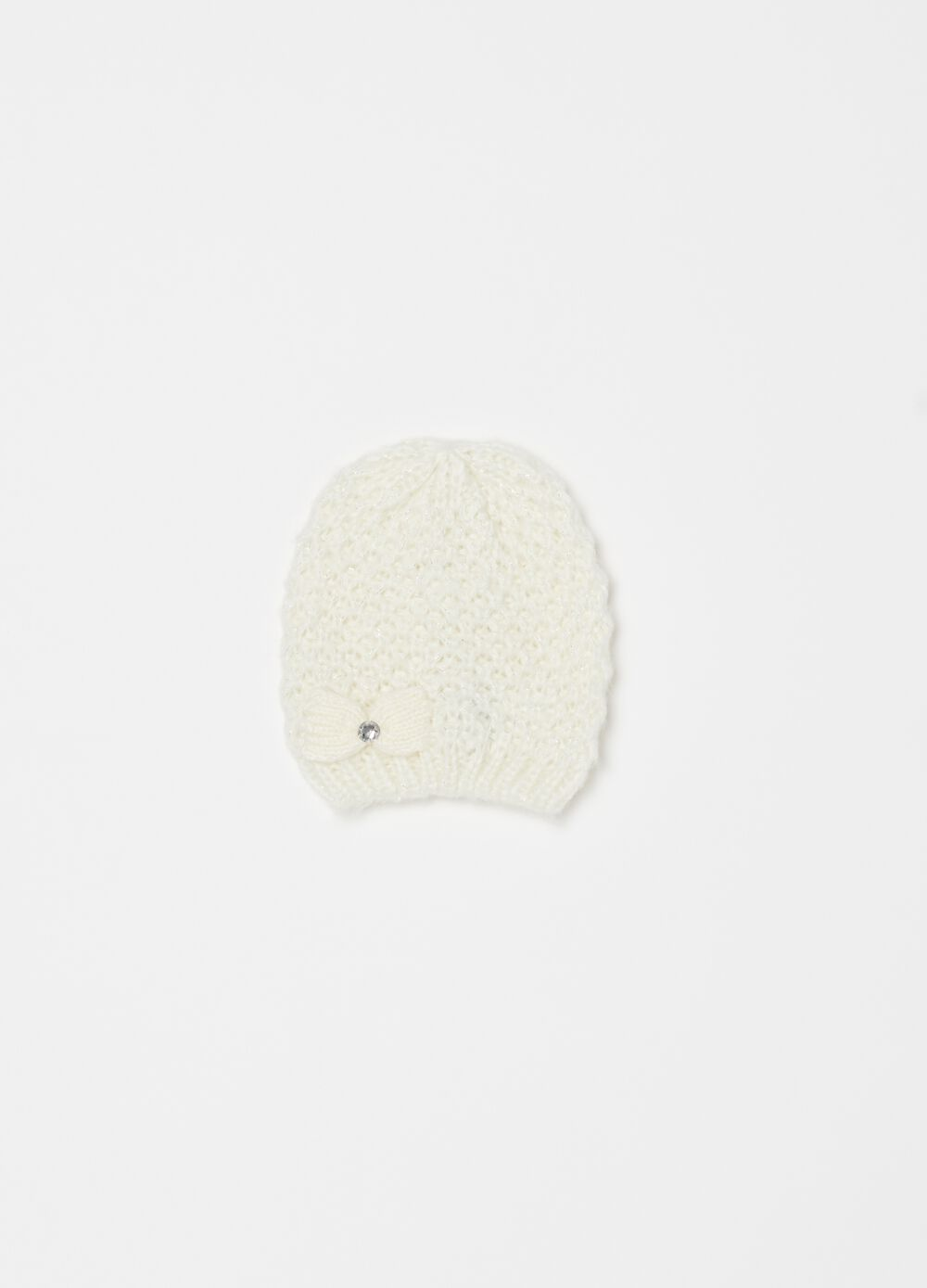 Knitted beanie cap with bow and diamantés