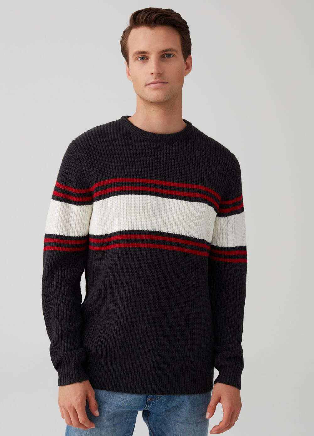Striped weave pullover with striped pattern