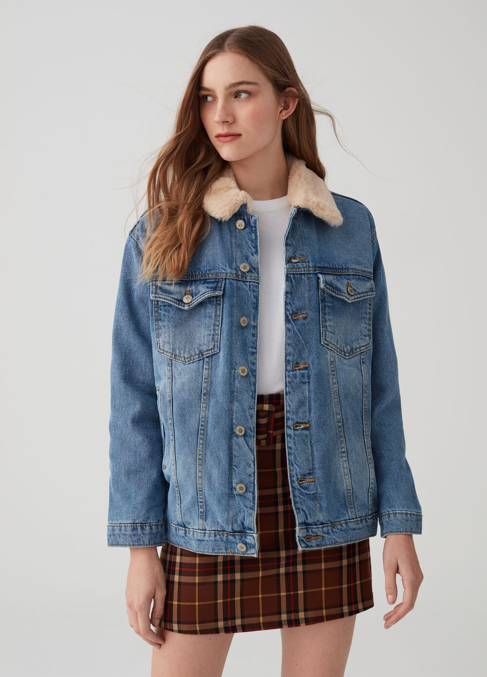 Over-fit denim jacket with padding